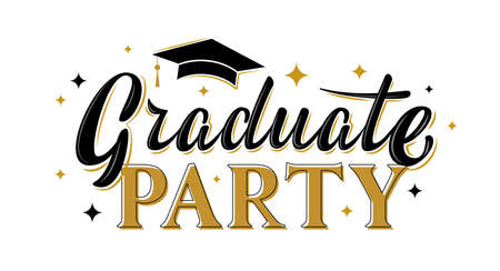 Graduate party greeting sign with stars. Graduation label. Vector for graduation design, congratulation ceremony, invitation card, banner. Grads symbol for university, high school, academy, college