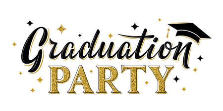 Graduation party greeting sign. Graduate label. Vector design for graduation design, congratulation ceremony, invitation card, banner. Grads symbol for university, high school, academy, college