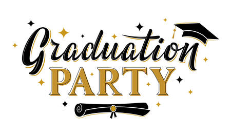 Graduation party greeting sign with academic cap. Vector design for graduation design, congratulation ceremony, invitation card, banner. Grads symbol for university, high school, academy, college Иллюстрация