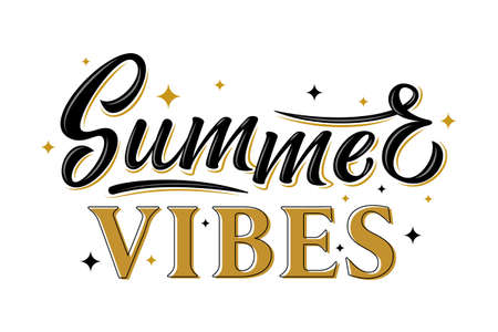 Summer vibes. Black and gold hand drawn lettering phrase with stars isolated on white background. Design element for poster, banner, flyer, postcard. Vector illustration Vetores