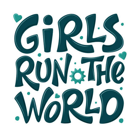 Girls run the world hand drawn vector lettering. Girl power sign. Feminism quote, woman motivational slogan. Inspirational poster, t-shirt, card, phone case, banner, sticker. Isolated design element