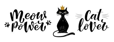 Meow power and cat lover handwritten sign with princess cat. Brush lettering. Cute slogan about cat.  Phrase for poster design, postcard, t-shirt print or mug print. Vector isolated illustration