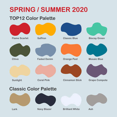 Spring / Summer 2020 trendy color palette. Fashion color trend. Palette guide with named color swatches. Saturated and classic neutral color samples set. Vector Illustration Ilustração