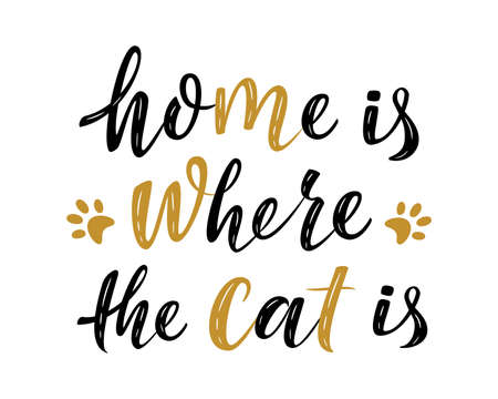 Home is where the cat is handwritten sign. Modern brush lettering. Cute slogan about cat.