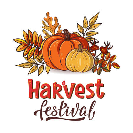 Harvest Festival hand drawn lettering text with autumn leaves and pumpkins. Rowan and oak leaves with gourds and dog-rose. Fall season elements for thanksgiving. Autumn harvest fest. Vector design
