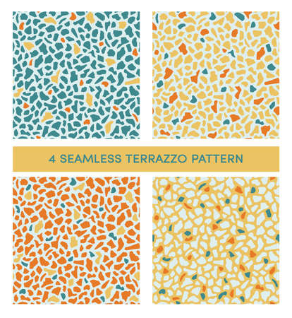 Set of seamless terrazzo patterns in mediterranean sun and sea tones.  Texture of classic italian type of floor in Venetian style. Vector background. For textile, paper, card, interior design Illustration