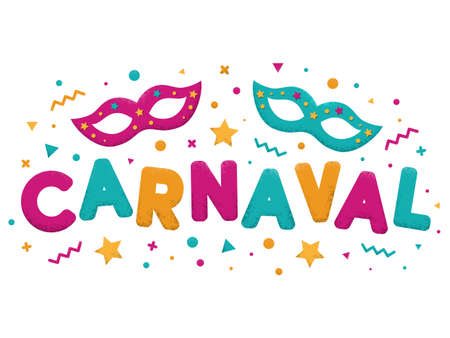 Carnival purple, blue and yellow text with decorated masquerade masks. Popular Event in Brazil. Carnaval title with colorful party elements. Vector illustration Vettoriali