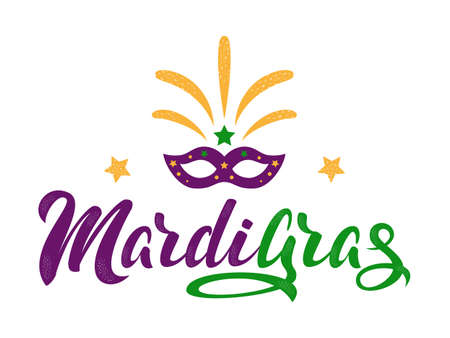 Mardi Gras purple and green text with masquerade mask and fireworks. American New Orleans Fat Tuesday poster, greeting card. Sidney Mardi Gras parade. Carnival lettering. Vector illustration.