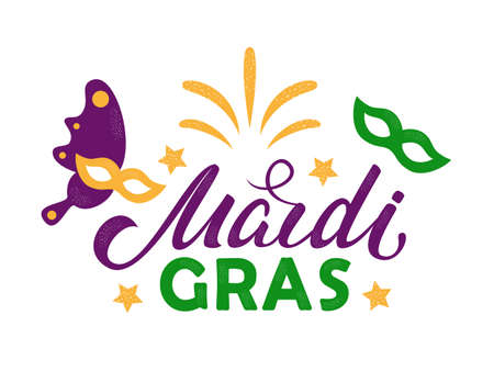 Mardi Gras purple and green text with masquerade masks and fireworks. American New Orleans Fat Tuesday poster, greeting card. Sidney Mardi Gras parade. Carnival lettering. Vector illustration.
