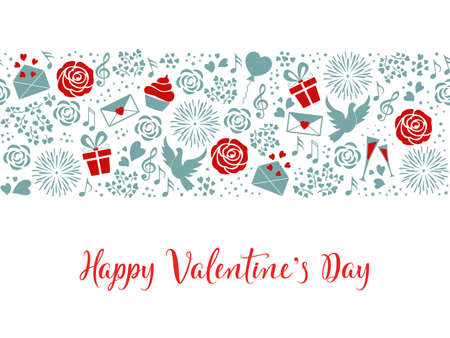 Valentines day seamless vector pattern with hand lettering text. Background with roses, pigeons, hearts, letters, gift boxes, music in red and blue tones. For card, wrapping paper, textile, web pages