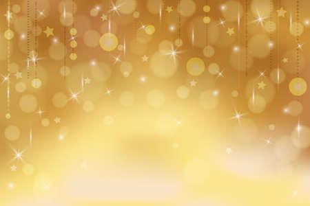 Fond d'or avec des étoiles et des lumières. Abstrait dans les tons or pour bannière, affiche, carte postale, papier peint, newsletter. Convient pour le Nouvel An, Noël, fête, vente, salutations, Saint-Valentin Vecteurs