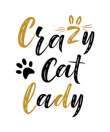 Crazy cat lady handwritten sign. Modern brush lettering. Cute slogan about cat. Cat lover. Textured phrase for poster design, postcard, t-shirt print or mug print. Vector isolated illustration