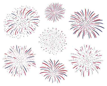 Set of vector firework design isolated on white background. Fourth of july independence day of the usa. USA flag color firework celebration.