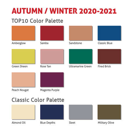 Autumn / Winter 2020-2021 trendy color palette. Fashion color trend. Palette guide with named color swatches. Saturated and classic neutral color samples set. Vector Illustration.
