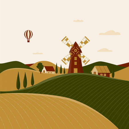Rural landscape with windmill and farmhouses. Vector illustration of the Italian countryside. Spring scenery in Tuscany with fields, hills and cypresses. Balloon in the sky. Poster in flat design