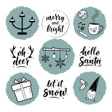 Set of Christmas decorations and simple lettering greeting sign. For card, t-shirt or mug print, poster, banner, sticker, decor. Photo overlay winter holidays vector. Hygge lifestyle cozy elements