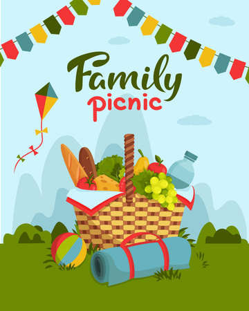 Family picnic concept. Wicker picnic basket full of healthy food, picnic blanket, kite, ball on grass. Bottle of water, fruits, cheese, baguette, vegetables. Vector illustration for poster, banner.