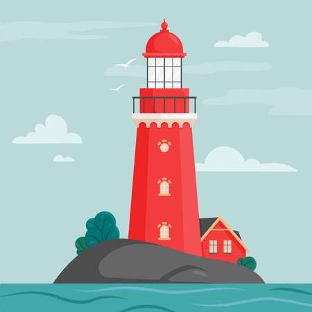 Lighthouse on island in flat style. Coastline landscape with beacon. Faros on seashore, lighthouse on the rock in stormy landscape. Hope symbol, expectation, solitude concept. Vector illustration.