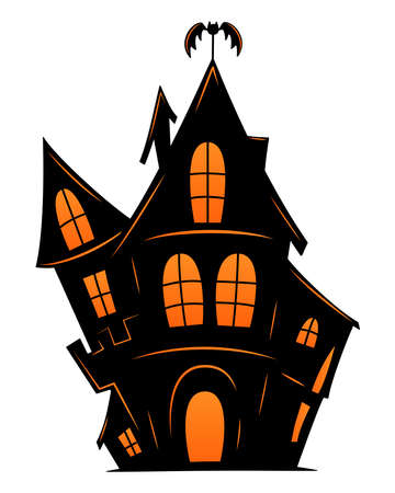 Haunted old house for Halloween. Vector silhouette of scary old house. Mystical spooky house with bat. Black halloween castle. For flyer or invitation template for Halloween party.
