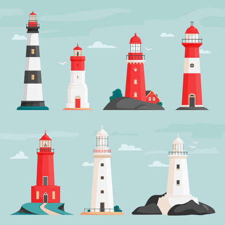 Set of vector lighthouses on islands in flat style. Coastline landscape with beacon. Faros on seashore, lighthouse on the rock in stormy landscape. Hope symbol, expectation, solitude concept.