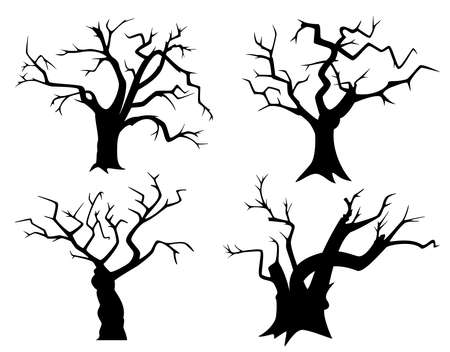 Set of tree silhouettes for Halloween. Black withered trees on a white background. Black and white vector illustration.