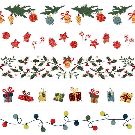 Set of Christmas seamless border. Garland, christmas cookies and lollipops, floral garland with holly and mistletoe branches and bells, gift boxes and decorated fir branches. Vector illustration. Çizim
