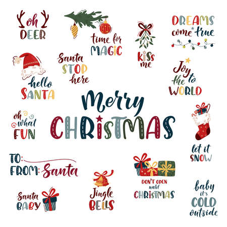 Merry Christmas hand lettering set. Cute colorful text with xmas decorative elements isolated on white. Xmas and New Year vector celebration sign for winter holiday design, postcard, t-shirt, tag.