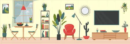 Cozy apartment. Cute minimalistic interior. Window, dining area, floor lamp, red armchair, flat-screen TV, houseplants. Flat vector illustration. Trendy scandinavian hygge interior.