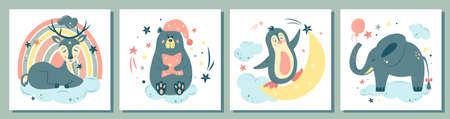 Big set of nursery vector illustration. Cute animals in cartoon style. For baby room, baby shower, greeting card, textile print. Hand drawn nursery. Dreaming deer, teddy bear, penguin, elephant.