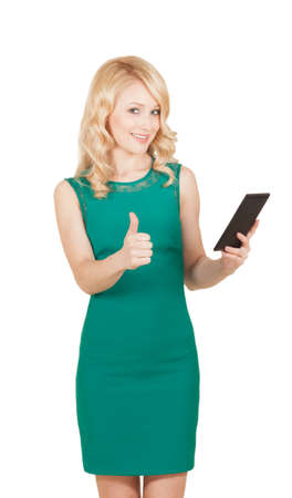 Beautiful woman holding tablet giving thumbs up over white photo