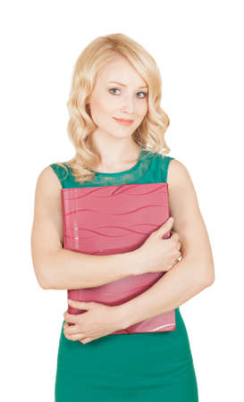 The beautiful blonde keeps the red folder in a green dress photo