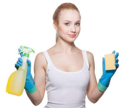 The beautiful girl with is ready to cleaning Stock Photo