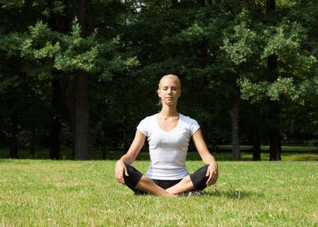 Beautiful woman doing yoga exercises Stock Photo - 21088176