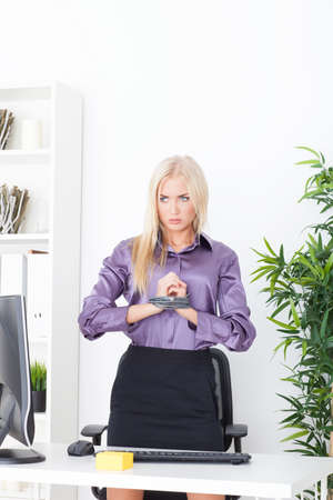 beautiful blonde in the Office hand tied wire UTP photo