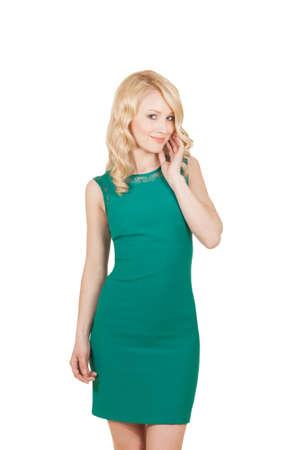 緑のドレス単独で美しいブロンド