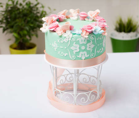 Cake with flowers photo