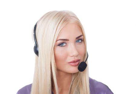 the beautiful girl the blonde the call center operator with blue eyes on the isolated white