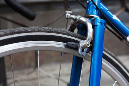 Brake. Bicycle parts brake, brake shoe, close-up Outdoor