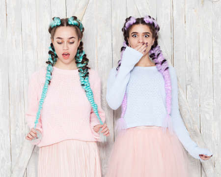 Portrait of two girls in fashionable outfits with colored braids girlfriends having fun and indulging. Outdoor. Stock Photo