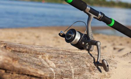 Fishing reel, blurred background