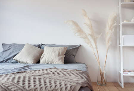 Bedroom interior in boho style, bed with pillows, vase with dry flowers, shelving on a white background.