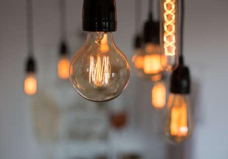 Set of vintage glowing light bulbs. Warm.