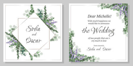 Vector template for wedding invitation. Lavender flowers, green plants. All elements are isolated. Polygonal gold frame. Template for greeting card.