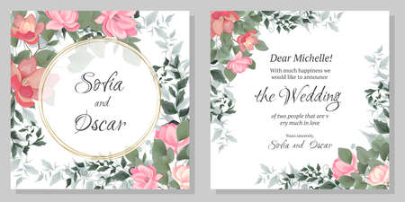 Vector template for wedding invitation. Magnolia flowers, green branches, leaves, round gold frame. All elements are isolated.