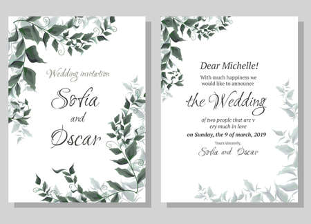 Vector template for wedding invitation. Green elegant leaves. Green plants, the flora elements of design. All elements are isolated. Ilustração