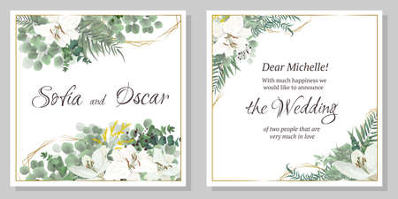 Vector floral template for wedding invitation. Eucalyptus, berries, green plants and leaves, lily flowers.