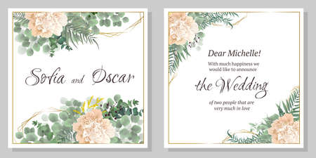 Vector template for wedding invitation. Peony flowers, eucalyptus, berries, green plants, polygonal shapes. All elements are isolated.