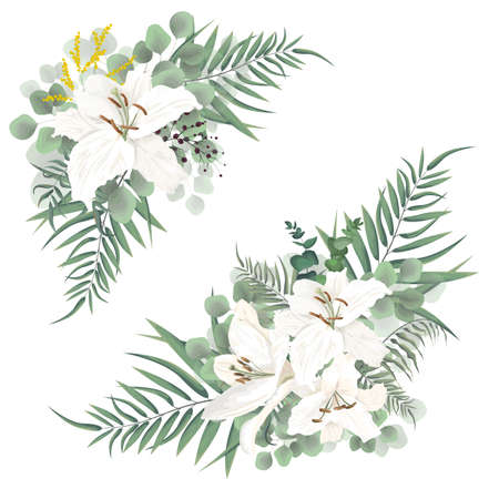 Vector corners of green plants, berries and lily flowers. Illustration