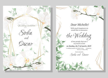 Vector floral template for wedding invitations. Orchid flowers, polygonal gold frame, green plants, leaves. All elements are isolated. Illustration