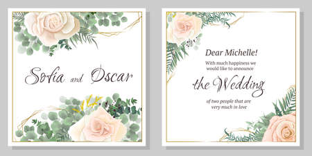 Wedding invitation template. Polygonal gold figures, beige roses, eucalyptus, green plants and leaves. All elements are isolated.